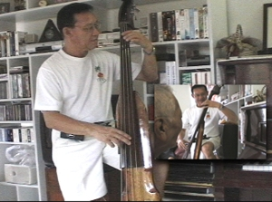 Cielo Lumacad playing the bass instrument he invented while jamming with octogenarian Rodrigo Manubat whom we fundly call Papa Dy