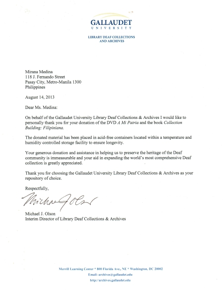 GALLAUDET ARCHIVES LETTER