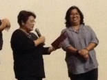 GMEFI Prez Evelyne Dominguez awards the certificate of appreciation to Myra Medrana [Deaf choreographer]